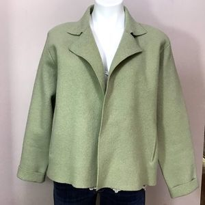 Eileen Fisher Lime Green Boiled Wool Jacket S